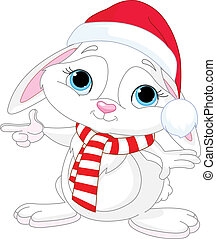 Little Christmas rabbit pointing