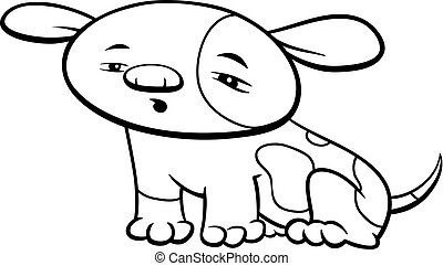 little dog or puppy character coloring book