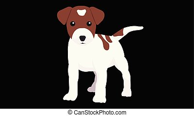 Little dog with isolated black background. Cute cartoon dog. Puppy design vector