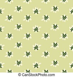 Little doodle daisy flowers print seamless pattern in pastel tones. Light green background.