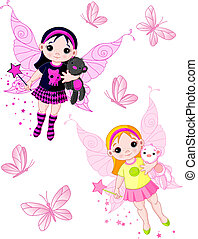 Little fairies flying with butterf