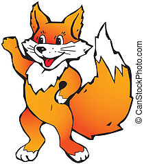 Happy little fox on a white background.