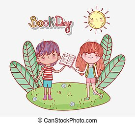 little girl and boy with open book in the park