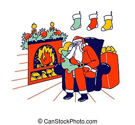 Little Girl Character Sitting on Santa Knees at Burning Fireplace Whispering in his Ear Tell Secrets, Christmas Holiday