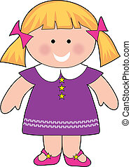 Little girl standing with a dress and pigtails