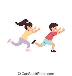 little kids smiling running cartoon