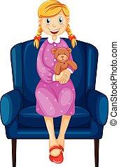 Little woman hugging teddy bear