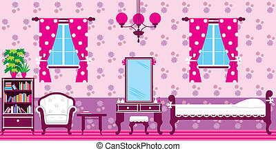 Image of interior bedroom with a bed and a cupboard.