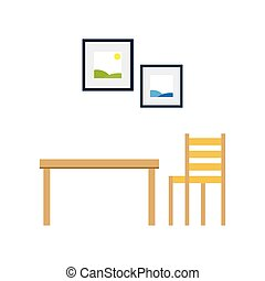 Living room table and a chair with pictures on the wall, vector illustration