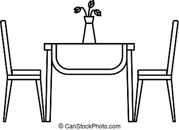 Living room table icon, outline style