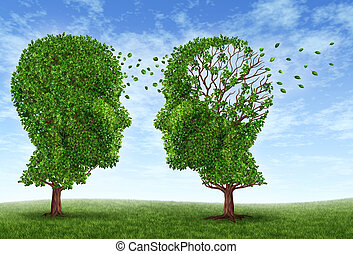 Living with alzheimers disease with two trees in the shape of a human head and brain as a symbol of the stress and effects on loved ones and caregivers by the loss of memory and cognitive intelligence function.