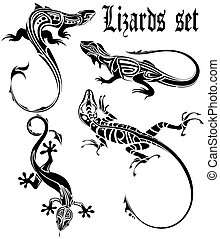 The vector image of a dial-up of lizards drawn from composite circuits on a white background