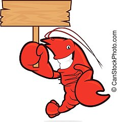 Lobster holding wooden sign