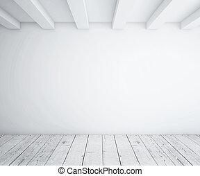 white empty loft room and wood floor