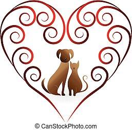 Logo cat and dog heart love
