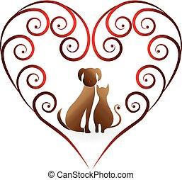 Logo dog and cat heart love