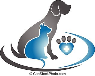 Dog, cat and paw logo vector