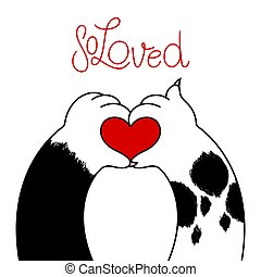 Logo dog and cat in a love heart shape
