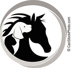 Logo Dog cat and horse