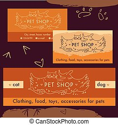 Logo, emblem store for cats and dogs. Cartoon illustration. Editable. Identification, a business card and banner. Template design store pets