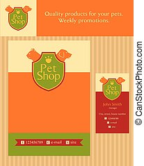 Logo, emblem store for cats and dogs. Editable. Flyer design vector template in A4 size. Business card and banner. Promotional kit for pet store.