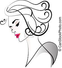 Logo face of pretty woman silhouette