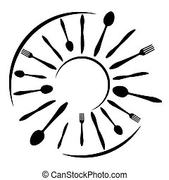 Logo of a cafe or restaurant made of forks, spoons and knives. Round shape with place for text.