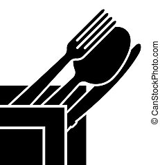 Logo of the company or a sign on the topic of cutlery. Appointment for a restaurant or cafe menu.