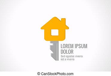 Real estate vector logo design template. House key creative idea. Realty concept icon symbol.