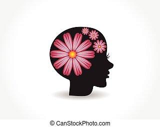 Logo woman pretty face pink flower