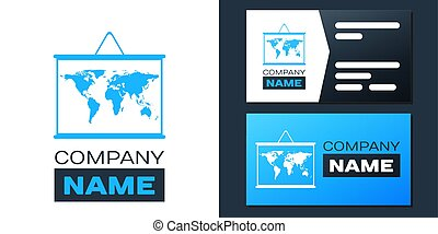 Logotype World map on a school blackboard icon isolated on white background. Drawing of map on chalkboard. Logo design template element. Vector