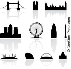 London famous landmarks isolated on a white background, vector illustration