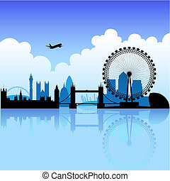 London skyline silhouette on a bright partly cloudy day, vector illustration