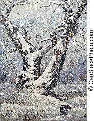 Lonely oak in winter wood