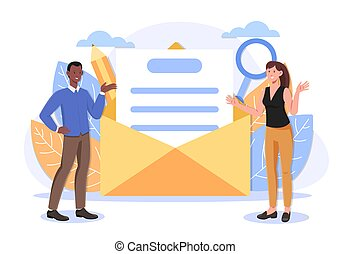 Relationship at a long distance, official mail service correspondence concepts. Multiracial couple. Flat abstract cartoon ui vector illustration. Website, web page, landing page template