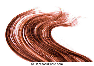 long red hair style on white isolated background