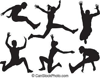 Long Jump Silhouette on white background