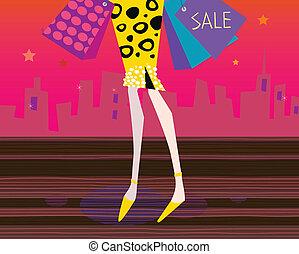 Long legs woman is shopping