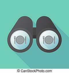 Long shadow binoculars with a dish, knife and a fork icon