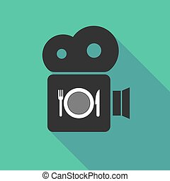 Long shadow camera with a dish, knife and a fork icon