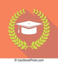 Long shadow laurel wreath with a graduation cap