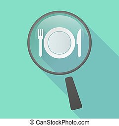 Long shadow magnifier vector icon with a dish, knife and a fork icon