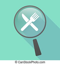 Long shadow magnifier vector icon with a knife and a fork
