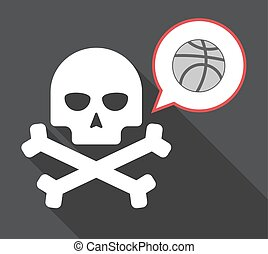 Long shadow skull with a basketball ball