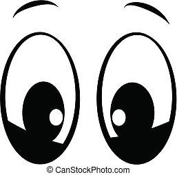 cartoon style eyes in black looking at you