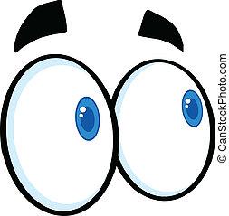 Looking Cartoon Eyes Illustration Isolated on white