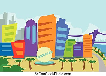 Los Angeles Abstract Skyline City Skyscraper Silhouette Flat Colorful