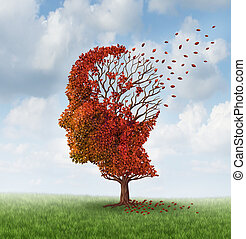 Brain disease with memory loss due to Dementia and Alzheimer's illness with the medical icon of an autumn season color tree in the shape of a human head and brain losing leaves as a concept of intelligence decline.