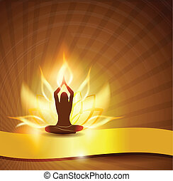 Beautiful lotus flower like fire, woman in yoga pose in the front and golden ribbon