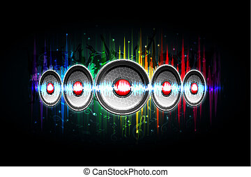 illustration of loud speakers on abstract musical background